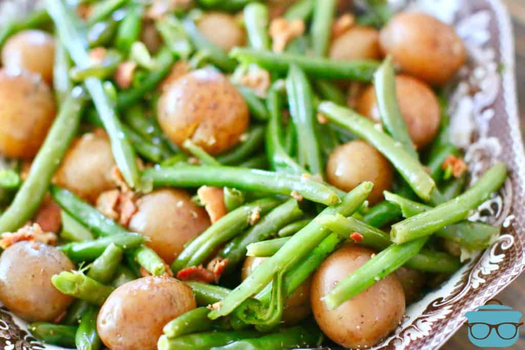 green beans, bacon and potatoes in a serving bowl