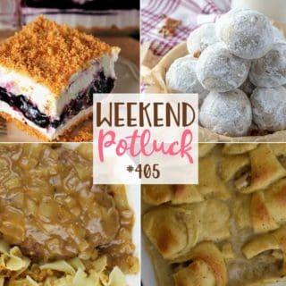 Weekend Potluck featured recipes: Blueberry Yum Yum. Thanksgiving Leftover Crescent Bake, Salisbury Steak, Snowball Cookies