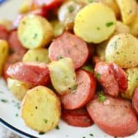 Air Fried Sausage and Potatoes, served on a plate