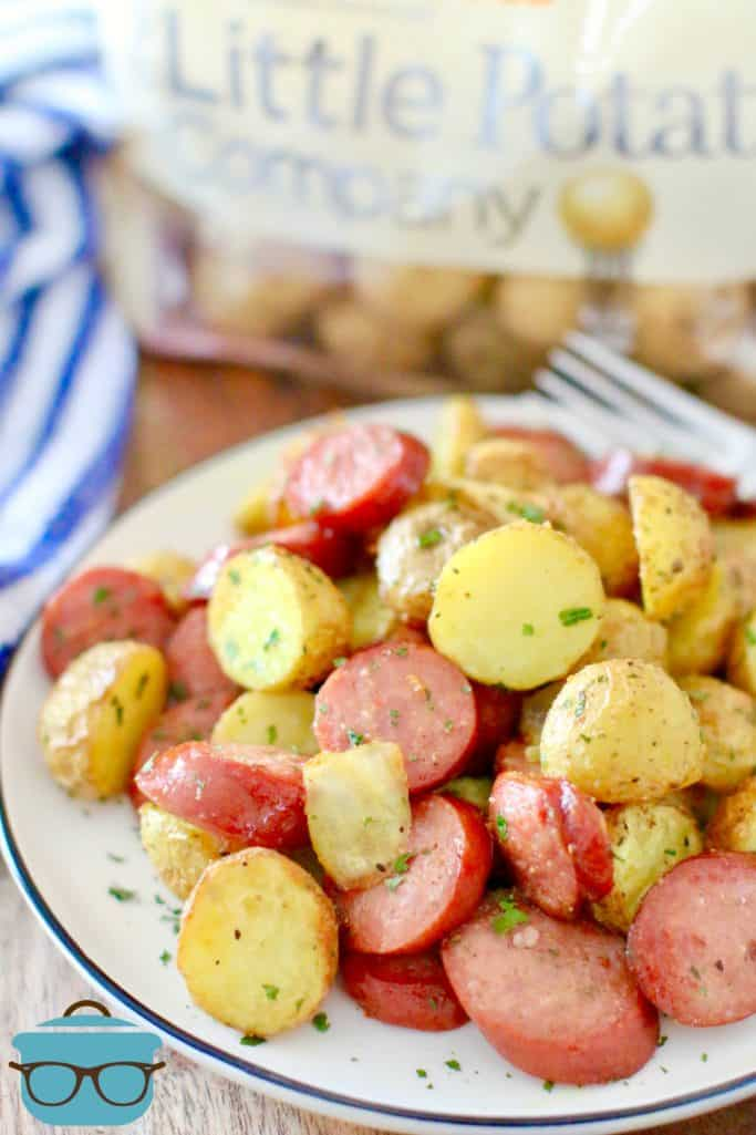 Air Fryer Potatoes, Sausage and Onions on a white plate