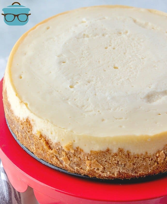 cooled, Instant Pot Cheesecake on stand