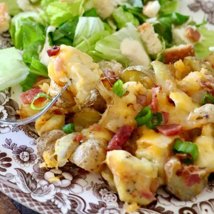 AIR FRIED CHICKEN AND POTATOES TOPPED WITH CHEESE AND BACON
