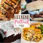 Weekend Potluck featured recipes include: Philly Sloppy Joes, 7-Minute Frosting, French Onion Beef Stroganoff Casserole, Butter-Braised Slow Cooker Pork Roast