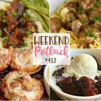 Weekend Potluck featured recipes include: Crock Pot Mongolian Beef, Biscuit Pretzels, Company Beef, Black Forest Cobbler