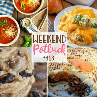 Weekend Potluck featured recipes include: Best Ever Shepherd's Pie, Triple Chocolate Pudding Cookies, Easy Tomato Ravioli Soup, Broccoli Casserole