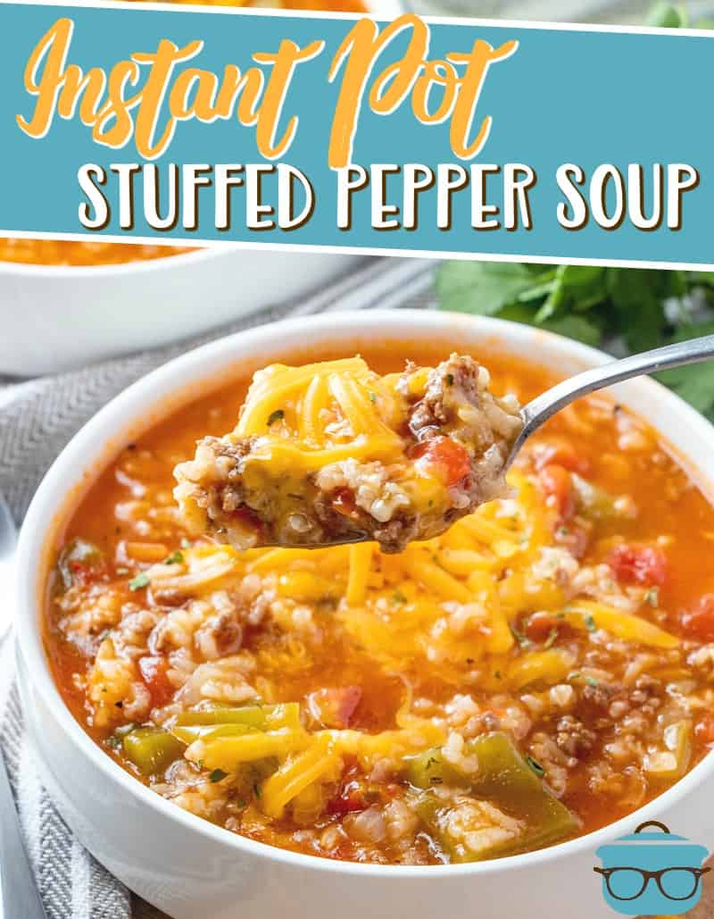Instant Pot Stuffed Pepper Soup is a delicious soup that is stuffed with ground beef, rice, peppers, onions in a seasoned tomato-based broth! #instantpotrecipes #souprecipes