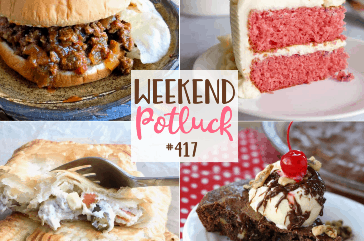 Featured recipes: Old-Fashioned Sloppy Joes, Fresh Strawberry Cake with Cream Cheese Icing, Chicken Pot Pie Hand Pies, Brownie Sundae Pie