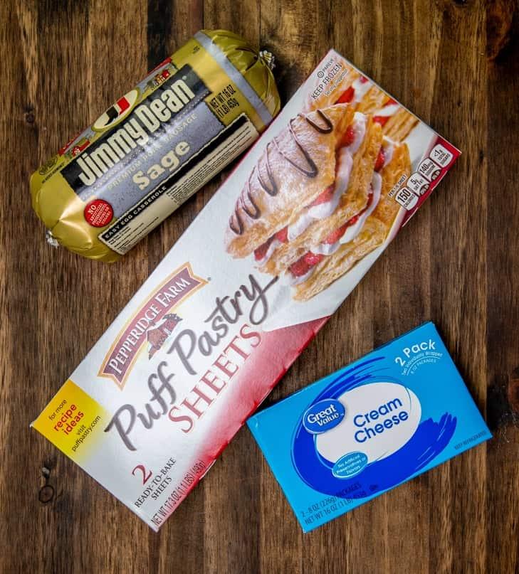 puff pastry, cream cheese, sage pork sausage