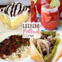 Weekend Potluck featured recipes include: Cream Puff Dessert, Slow Cooker Philly Cheesesteak, Beef Tips in Gravy and Strawberry Margarita Punch
