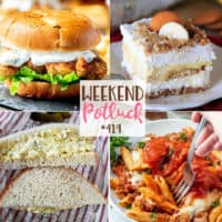 Weekend Potluck featured recipes: Classic Deviled Egg Salad, No-Bake Banana Pudding Yum Yum, Spicy Chicken Sandwich with Jalapeno Cilantro Yogurt Sauce, The Best Baked Ziti