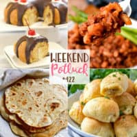 Weekend Potluck featured recipes include: Boston Cream Bundt Cake, Homemade Flour Tortillas, Homemade Beefaroni and 3-Ingredient Sausage Rolls