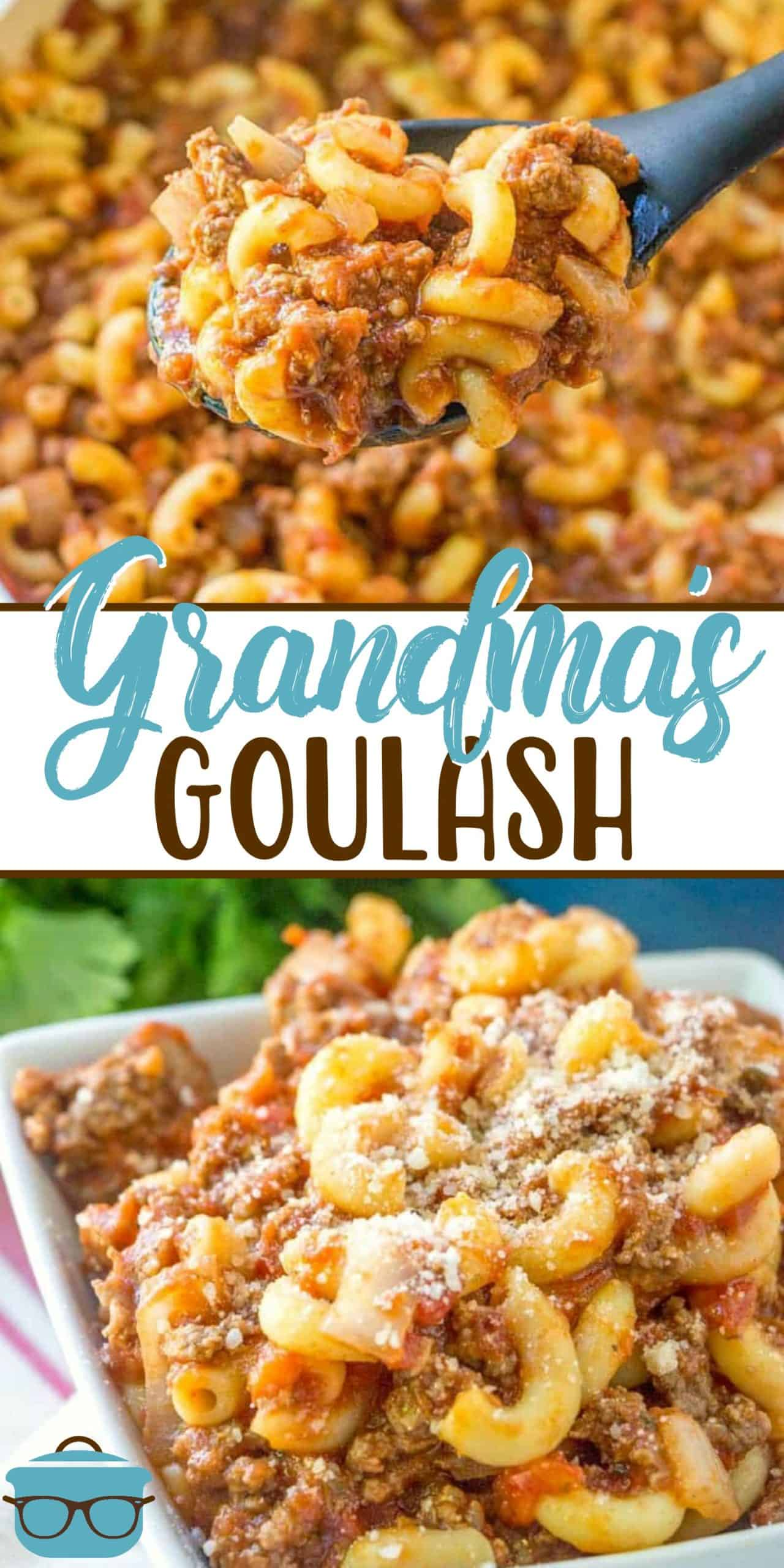 This recipe for Grandma's Goulash is an old family recipe that is totally American and is super easy to make. Ground beef, pasta and sauce! It's sometimes called: American Chop Suey, Johnny Marzetti or Slumgullion.