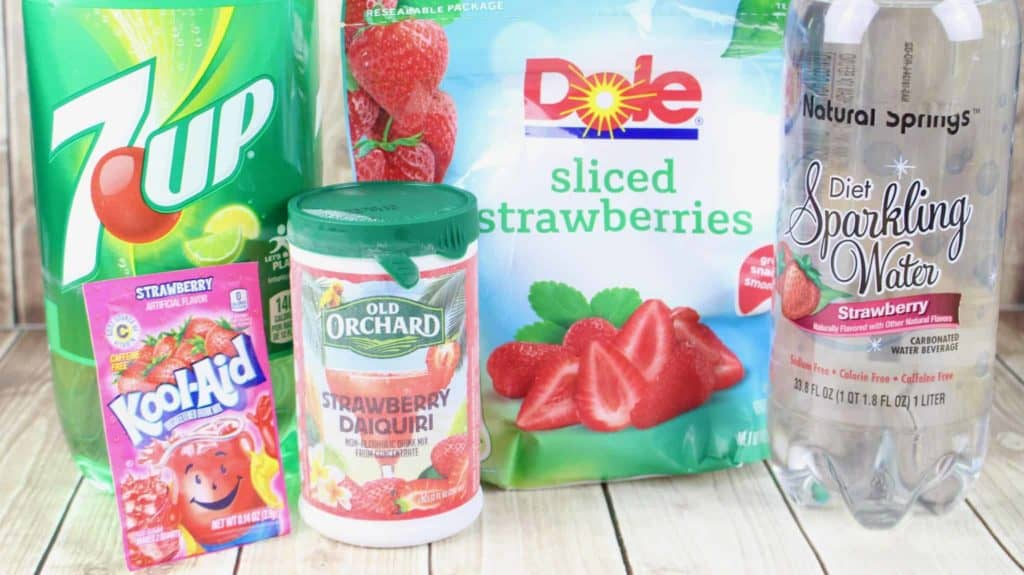 frozen strawberry daiquiri concentrate, strawberry Kool-Aid, 7-Up lemon-lime soda, strawberry sparkling water, frozensliced strawberries