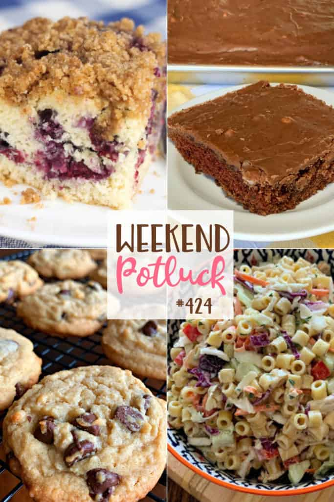 Weekend Potluck featured recipes include: Cole Slaw Pasta Salad, Texas Brownies, Blueberry Coffee Cake with Streusel Topping, Bisquick Chocolate Chip Cookies