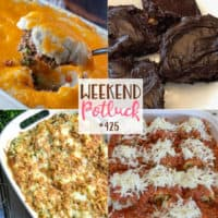 Weekend Potluck featured recipes: Better Brownies from a Mix, Monterey Chicken Spaghetti, Sausage Spinach Lasagna Roll-ups and Shepherds Pie