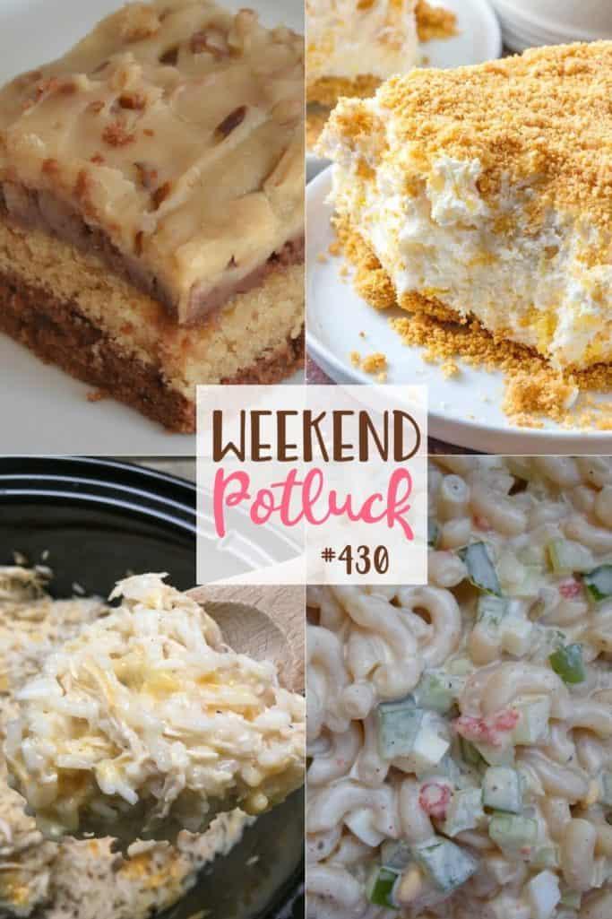 O Potluck do fim de semana contou com o resumo da receita: Bolo de chocolate com manteiga de amendoim, salada de macarrão Amish, receita de pote de barro de frango e arroz, sobremesa ideal com abacaxi