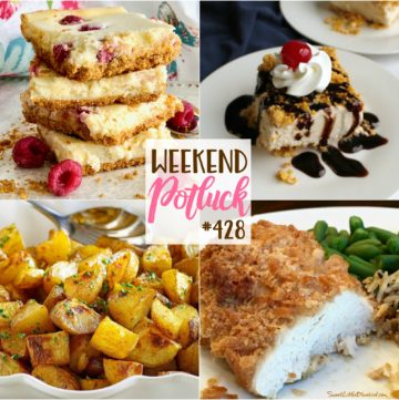 Weekend Potluck featured recipes include: My Family's Favorite Potatoes, No-Fry Fried Ice Cream Bars, Raspberry Slab Cheesecake, Famous Butter Chicken