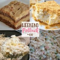 Weekend Potluck featured recipe roundup: Peanut Butter Chocolate Texas Sheet Cake, Amish Pasta Salad, Chicken and Rice Crock Pot recipe, Pineapple Dream Dessert