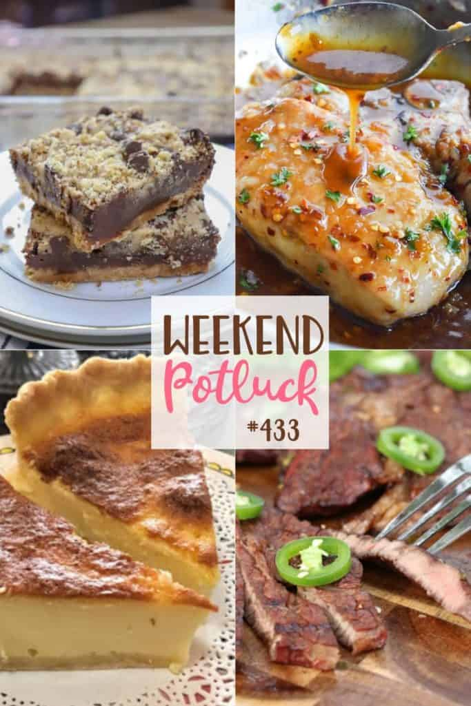 O Potluck do fim de semana contou com receitas: barras de chocolate com leite condensado, costeletas de porco com alho e mel, torta de ovo filipina Tres Leches, filé de lima de tequila Honkey Tonk