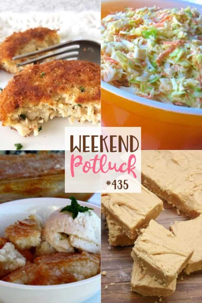 As receitas apresentadas no Weekend Potluck incluem: Sapateiro de pêssego mágico, Salada de amendoim à moda antiga, Fudge à moda antiga de manteiga de amendoim, Bolinhos de frango crocantes