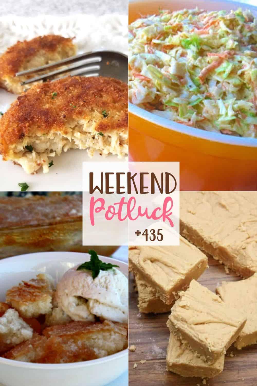 As receitas do Weekend Potluck incluem: Sapateiro de Pêssego Mágico, Cole Slaw do Sul, Fudge de Manteiga de Amendoim à Moda Antiga, Bolinhos de Frango Crocantes