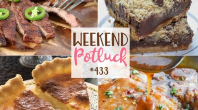 Weekend Potluck featured recipes: Sweetened Condensed Milk Chocolate Chip Bars, Honey Garlic Pork Chops, Tres Leches Filipino Egg Pie, Honkey Tonk Tequila Lime Steak