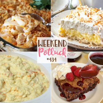 Weekend Potluck featured recipes include: Chocolate Gooey Butter Cakes, Southern Vidalia Onion Casserole, Hawaiian Pineapple Coconut Fluff and Coconut Cream Pie Bars