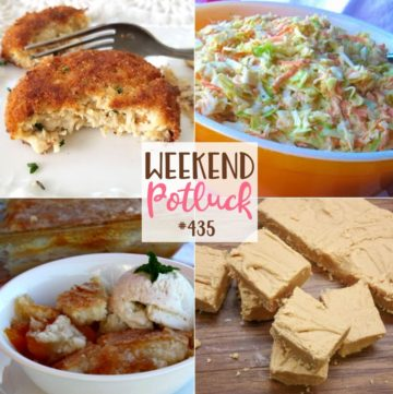 Weekend Potluck featured recipes include: Magic Peach Cobbler, Southern Style Cole Slaw, Old-Fashioned Peanut Butter Fudge, Crispy Chicken Fritters