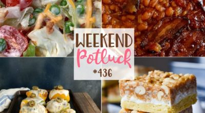 Weekend Potluck featured recipes include: Overnight Salad, Salted Nut Roll Bars, Southwester Stuffed Peppers and Anastasia's Best Baked Beans