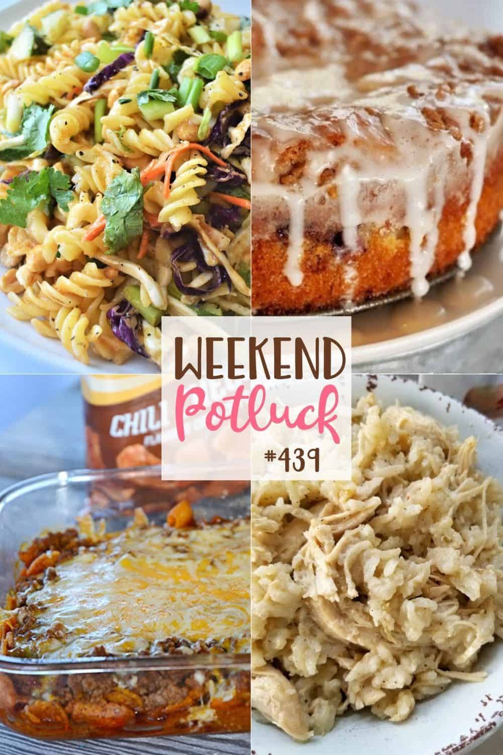 Weekend Potluck featured recipes: Walking Taco Casserole, Blueberry Crumble Cake, Thai Noodle Salad, Southern Style Crock Pot Chicken and Rice