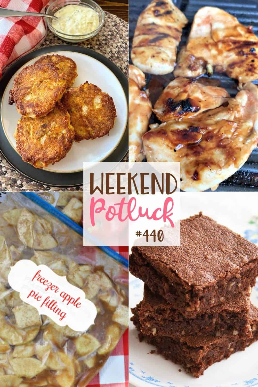 As receitas do fim de semana Potluck incluem: bolos de salmão frito no forno, brownies vintage, recheio de torta de maçã com congelador e marinada de frango com churrasco italiana