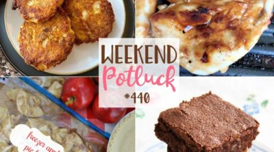 Weekend Potluck recipes include: Oven-Fried Salmon Cakes, Vintage Brownies, Freezer Apple Pie Filling and Italian BBQ Chicken Marinade