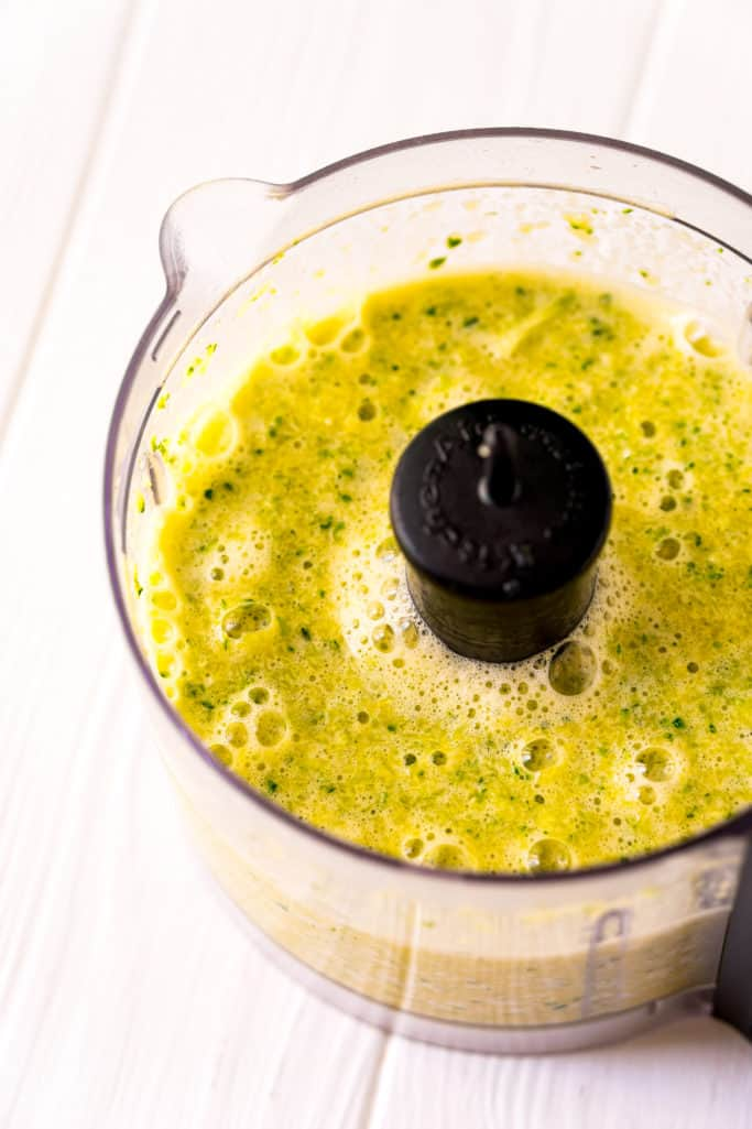 pureed zucchini, vegetable oil, vanilla extract and eggs in a food processor