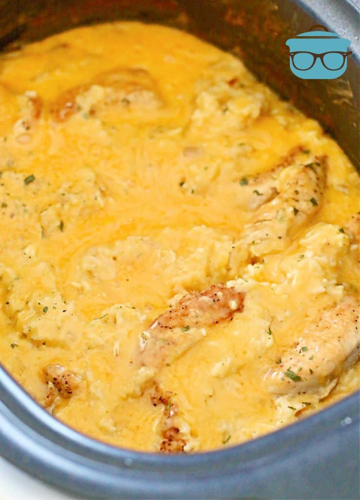 melted cheese shown over chicken and rice in slow cooker