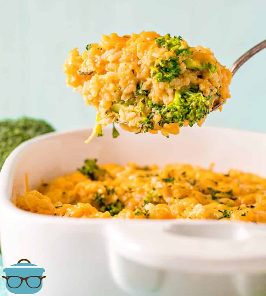 large spoonful of broccoli rice cheddar casserole