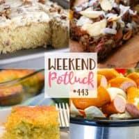 Weekend Potluck featured recipes: Italian Cream Cake, Cheesy Zucchini Cornbread Casserole, Crock Pot Smoked Sausage, Cabbage and Potatoes and Almond Joy Magic Cookie Bars