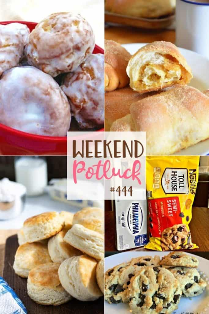 Weekend Potluck featured recipes include: Apple Fritter Bites, Easy 3-Ingredient Buttermilk Biscuits, Spanish Bread, Soft Batch Chocolate Chip Cookies