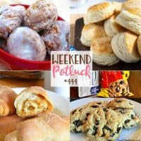 Weekend Potluck featured recipes include: Apple Fritter Bites, Easy 3-Ingredient Buttermilk Biscuits, Spanish Bread and Soft Batch Chocolate Chip Cookies