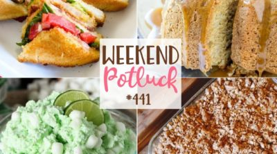 Weekend Potluck featured recipes include: Lime Fluff, Epic Fried Green Tomato BLT Club Sandwich, Special Wedding Day Apple Crisp & Caramel Apple Pound Cake