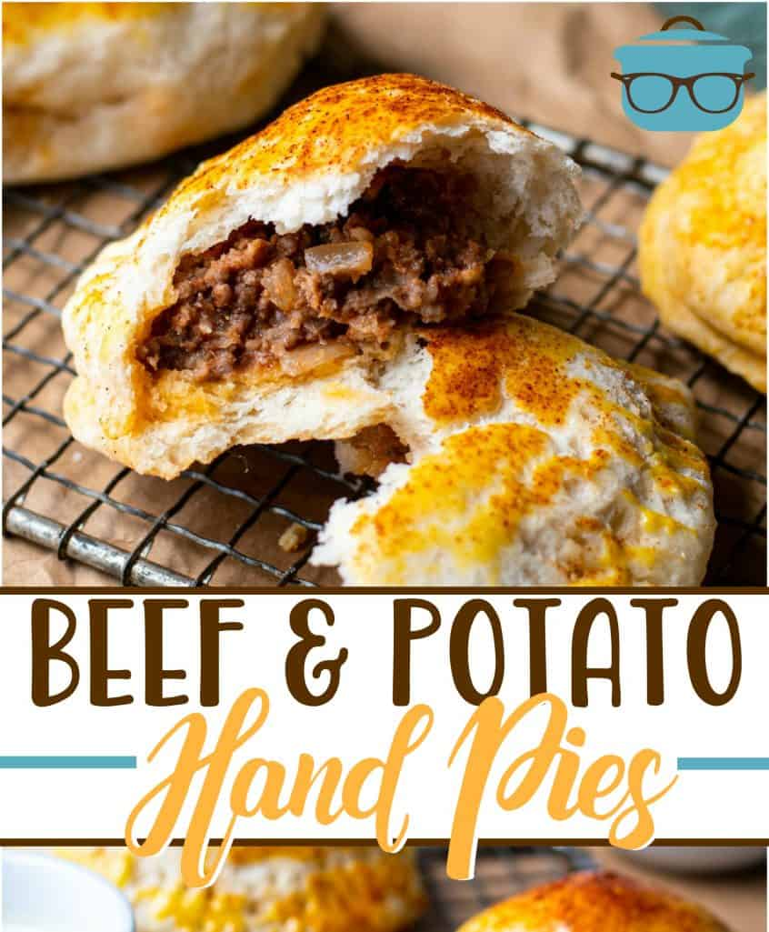 Beef and Potato Hand Pies recipe from The Country Cook, one hand pie split open to show cooked ground beef center