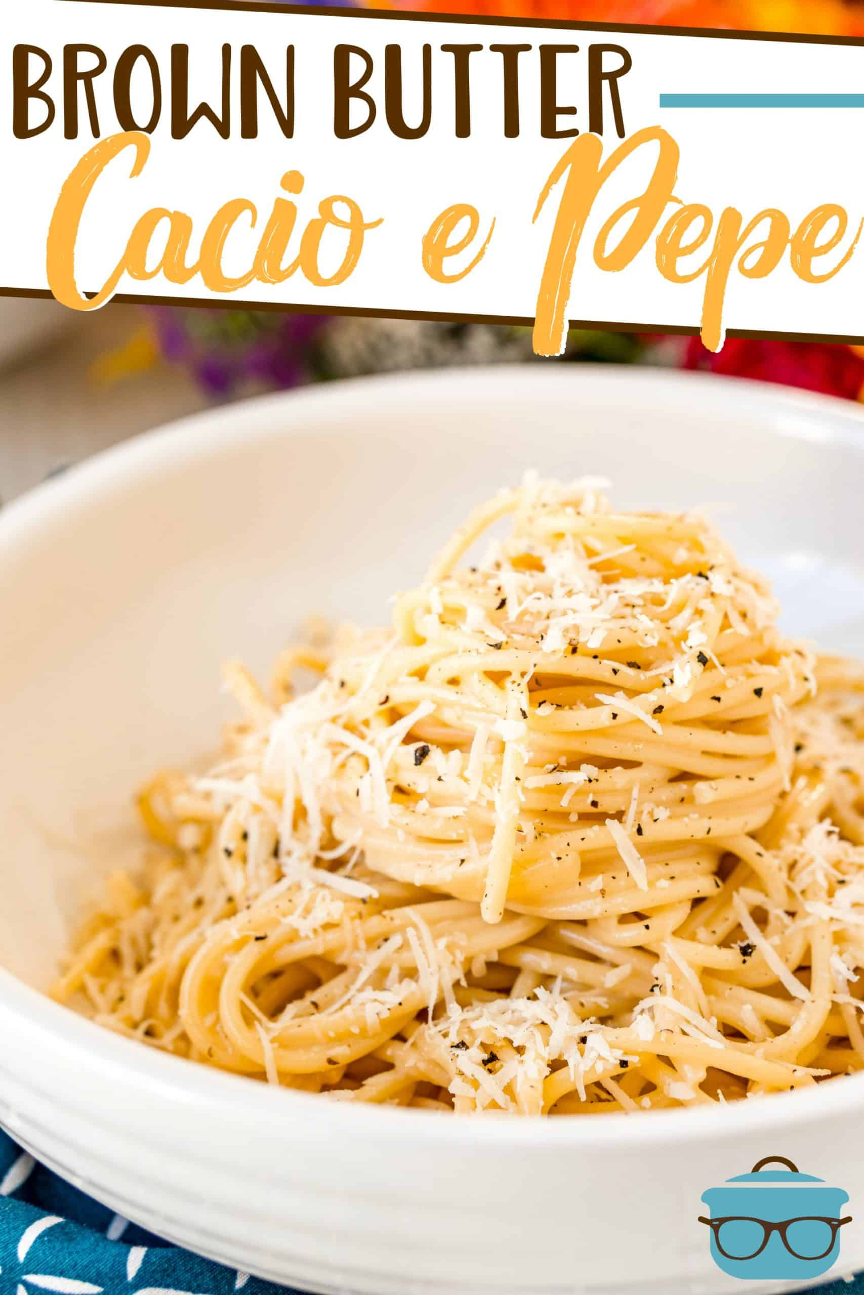 Brown Butter Cacio e Pepe is simply spaghetti coated in a butter and Parmesan sauce and loaded with fresh black pepper!