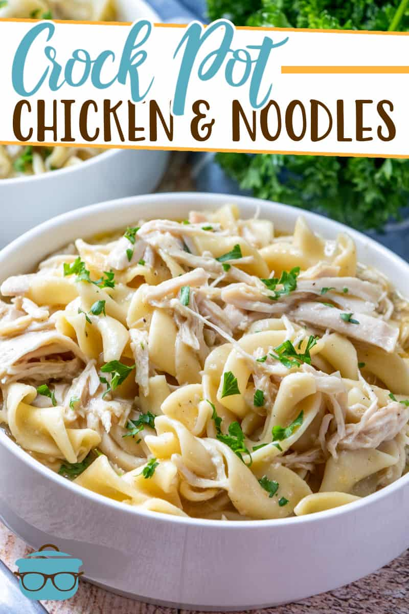This recipe for Crock Pot Chicken and Noodles is pure comfort food. Egg noodles and seasoned chicken breast in a delicious, creamy broth!