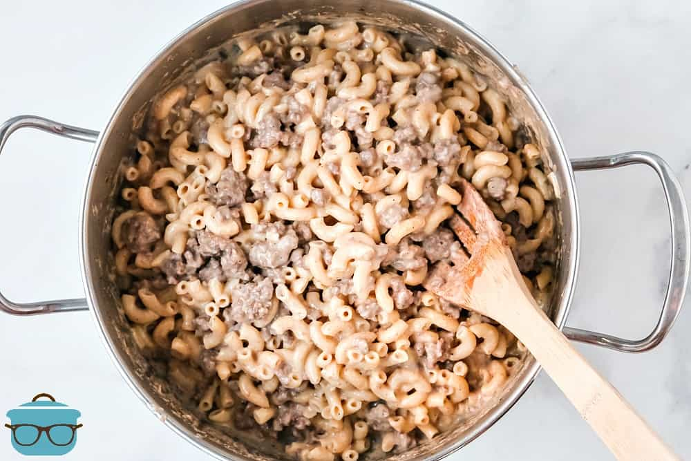 fully cooked hamburger macaroni cheese in a pot