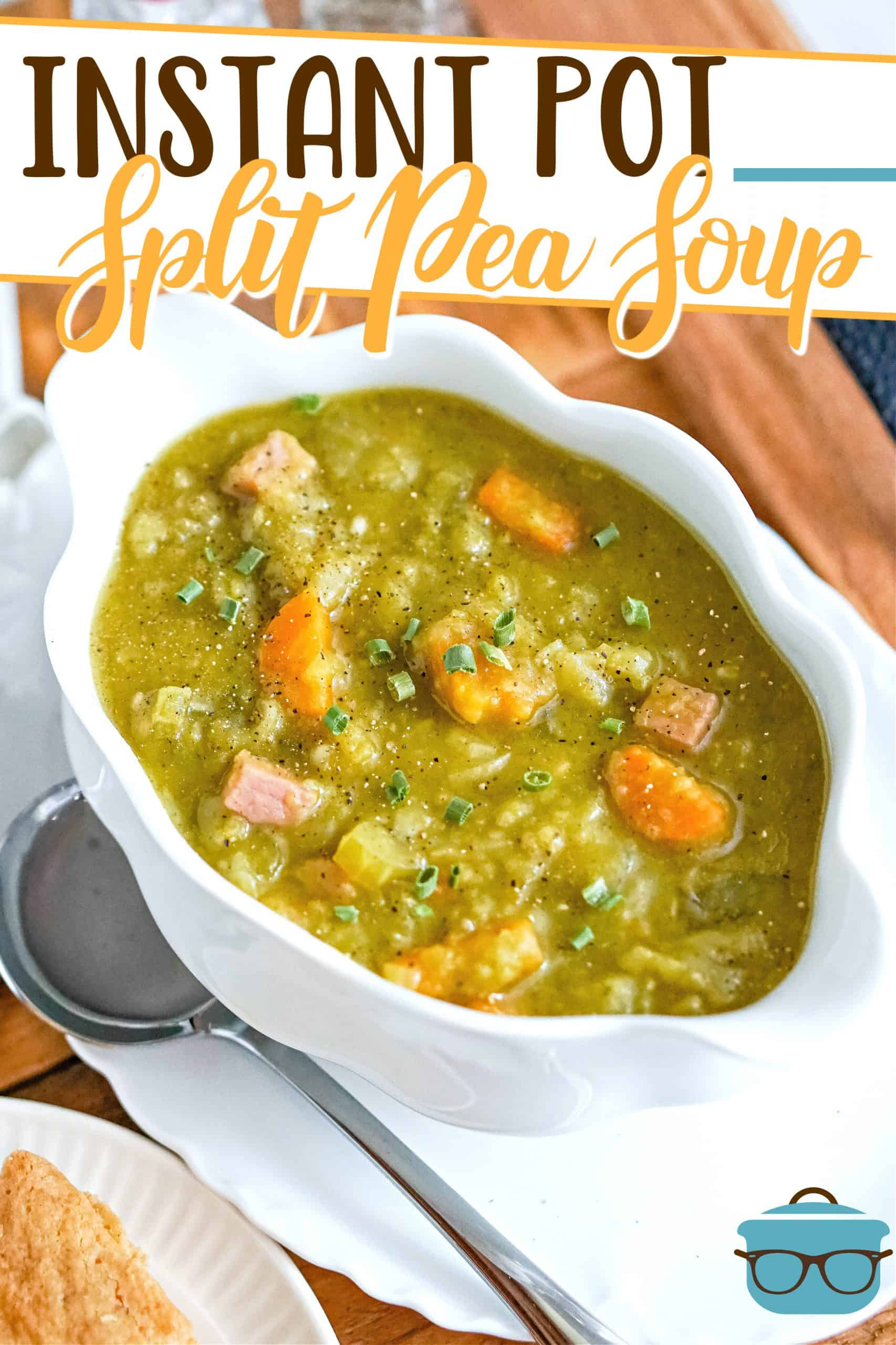 This recipe for Instant Pot Split Pea soup is creamy, smoky and super flavorful soup. It's a one pot wonder that's ready in about 30 minutes!