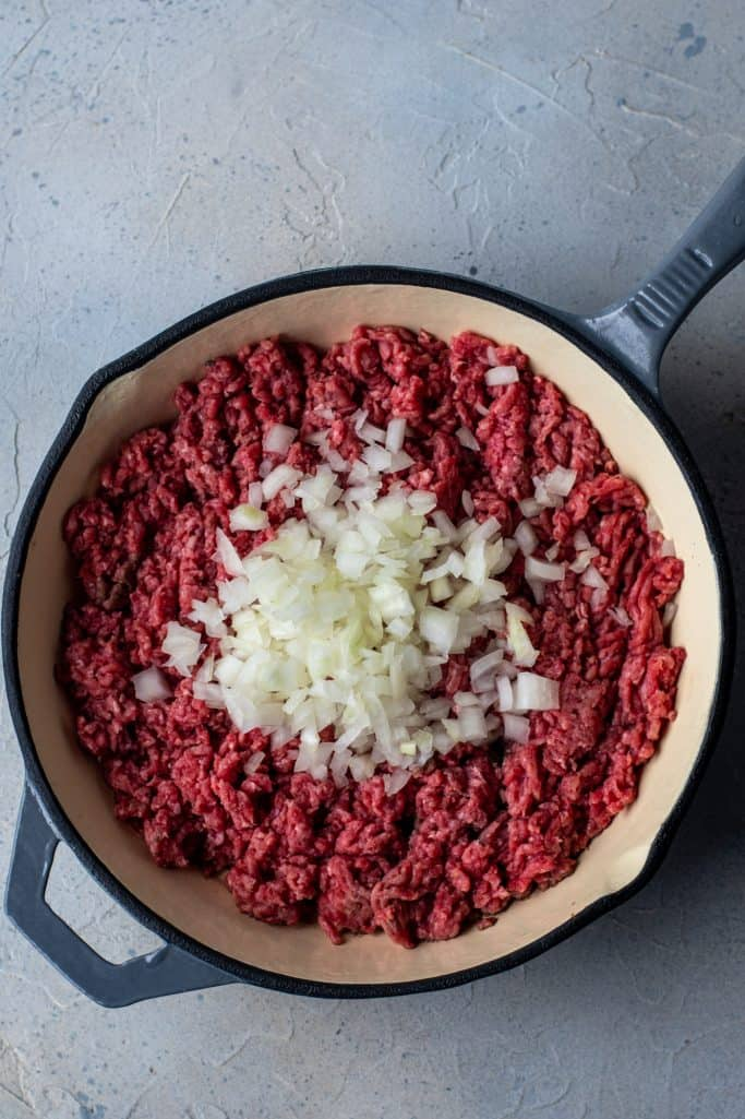 ground beef and onion in a large skillet