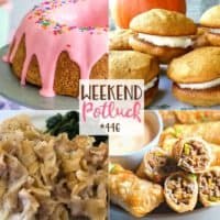 Weekend Potluck featured recipes include: Old-Fashioned Tuna Noodle Casserole, Donut Cake, Pumpkin Gobs and Cheeseburger Egg Rolls!