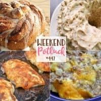 Weekend Potluck recipes: 5-Ingredient Ground Beef Casserole, Cinnamon Sugar Crescent Swirl Bread, Mayo Parmesan Chicken and Pecan Pound Cake.