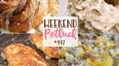 Weekend Potluck recipes: 5-Ingredient Ground Beef Casserole, Cinnamon Sugar Crescent Swirl Bread, Mayo Parmesan Chicken and Pecan Pound Cake.