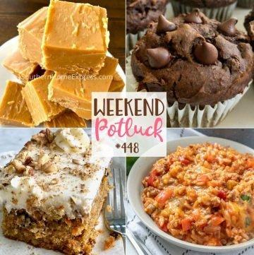 Weekend Potluck featured recipes: 2-Ingredient Peanut Butter Fudge, Stuffed Pepper Casserole, Loaded Carrot Cake, Chocolate Pumpkin Muffins