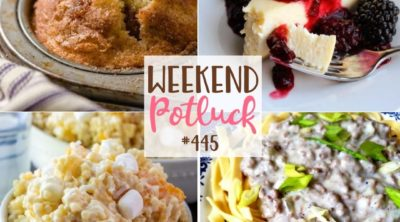 Weekend Potluck recipe include: Cinnamon Muffins, Country Beef Gravy over Buttered Noodles, Easy Sweetened Condensed Milk Cheesecake and Frog Eye Salad